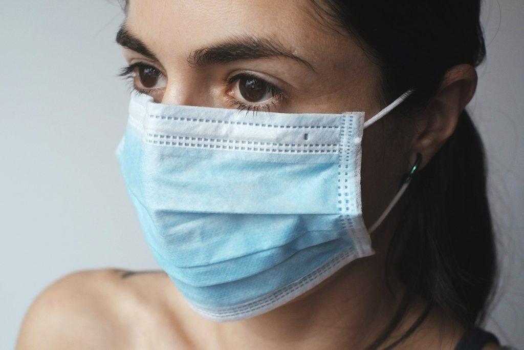 Woman wearing covid-19 mask